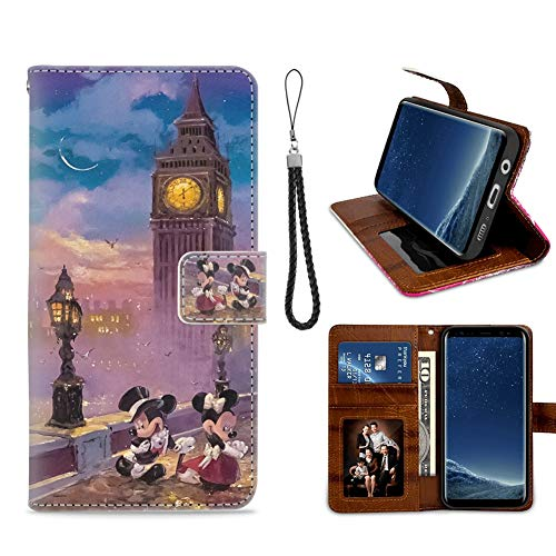 for Samsung Galaxy S8 Plus Wallet Case Disney Mickey Mouse Flip Leather Case with Kickstand PU Leather Stand Folio Cover Case for Samsung Galaxy S8 Plus