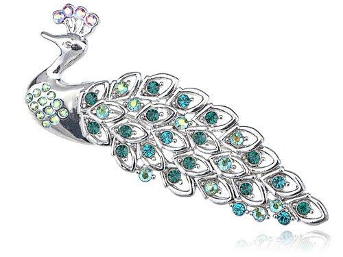 Emerald AB Crystal Rhinestone Iridescent Blue Feather Peacock Animal Brooch Pin
