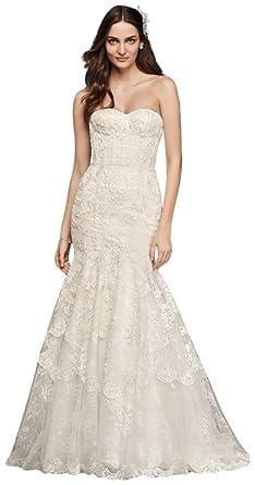 David\'s Bridal Corset Bodice Mermaid Lace Wedding Dress Style ...