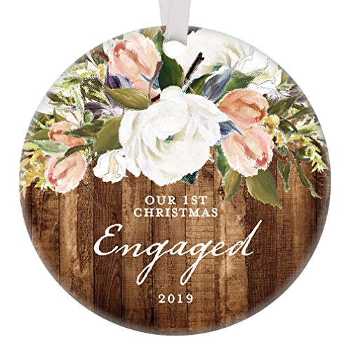 Rustic Engagement Christmas Ornament 2019 First Christmas Engaged Gift for Couple Getting Married Modern Farmhouse Floral Present 3