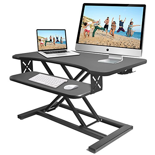 Pyle Ergonomic Standing Desk & PC Monitor Riser - Height Adjustable Laptop & Computer Table w/ Wide Keyboard Tray - Black Sit & Stand Desktop Workstation Converter for Office or Gaming Use - PDRIS12