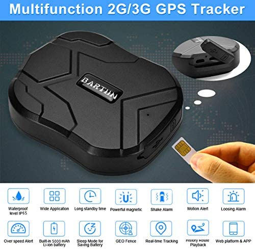 BARTUN 3G GPS Tracker for Vehicles Magnet GPS Locator Real Time Wireless Waterproof IP65 Tracking Devies for Cars Motorcycle Trucks Bike Support Android and iOS 90 Days Standby time