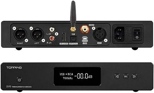 Topping D70 HiFi Balanced DAC XMOS XU208 AK4497 OPA1612 DSD512 32Bit 768KHz USB Optical Coaxial AES IIS Audio Decoder with Remote Control Bluetooth Version