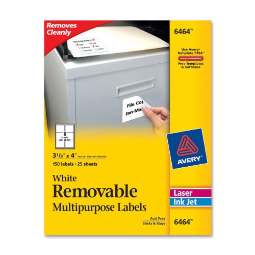 Avery Removable 3-1/3 x 4 Inch White ID Labels 150 Pack (Avery Removable Label)