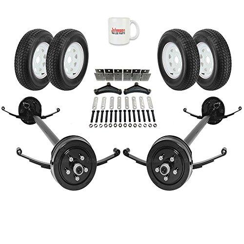 Atv Trailer Axle - Tandem 3,500 lb Electric Brakes Trailer Axle Kit w/ Springs, Ubolts, Hanger Kit, Wheels / Tires (95