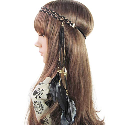 Song Qing Women Feather Leaf Tassels Braided Hippie Headband Hair Accessories -