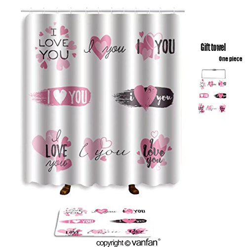 Vanfan Bath Sets With Polyester Rugs And Shower Curtain I Love You Message Heart Icons Badges Set Curtains Bathroom 72 X 108 Inches315