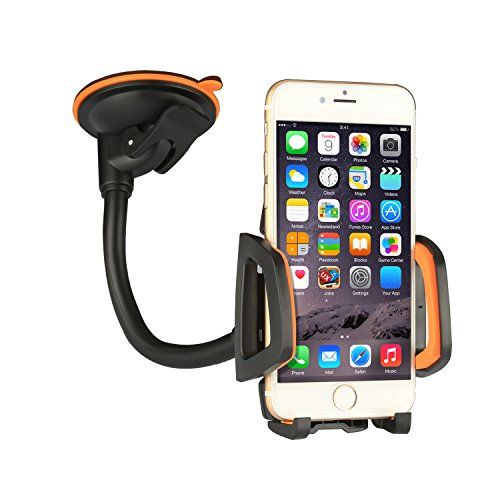 Car Mount Car Holder Universal Flexible 360 Rotating Windshield Cell Phone Holder Cradle Car Accessories for almost Smartphone - iPhone 7 7Plus Galaxy S7Edge LG HTC up to 7 inches Device (Orange)