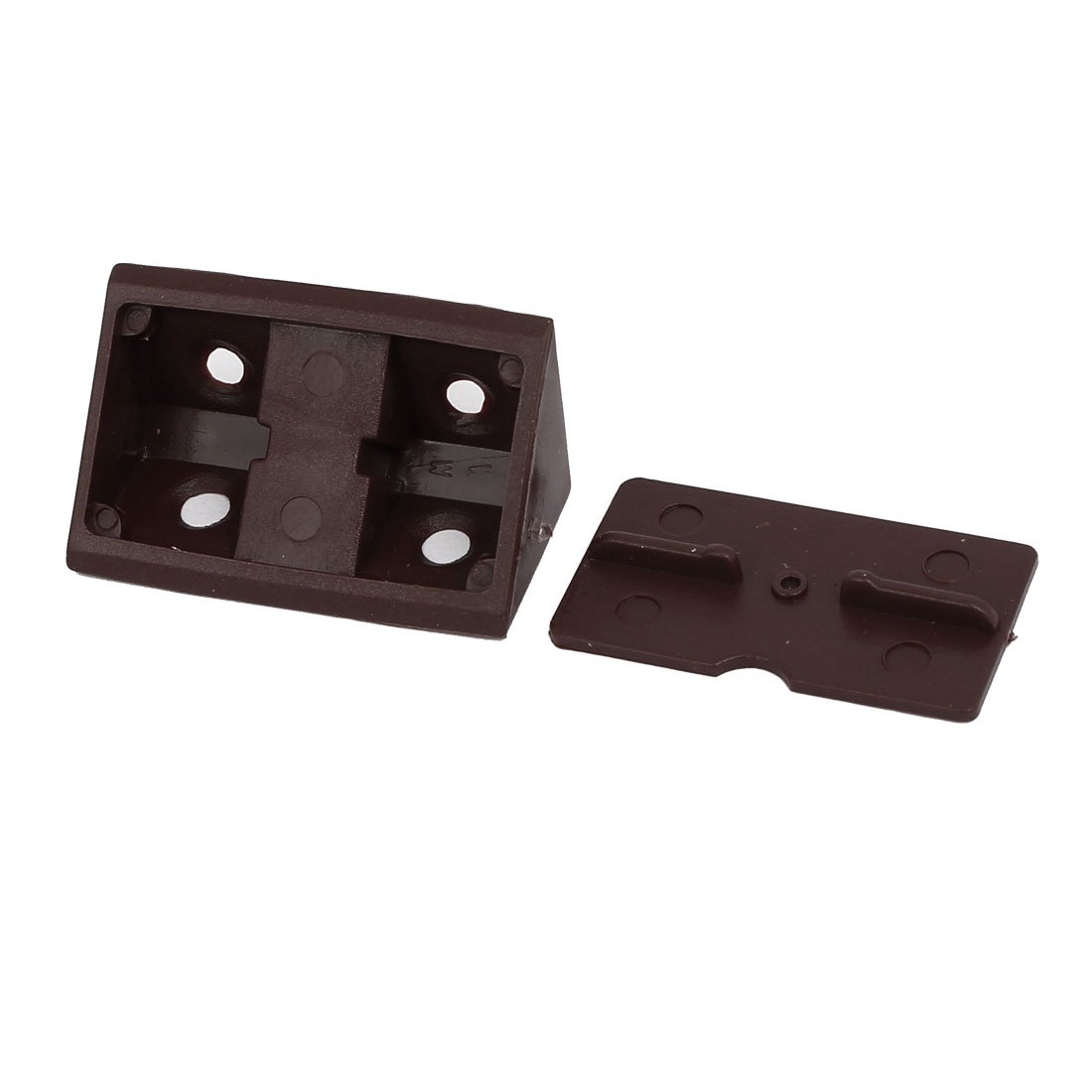 Shelf Cabinet Door 90 Degree 4 Holes Angle Brackets with Cover Cap Black sourcing map Plastic Corner Braces Pack of 20