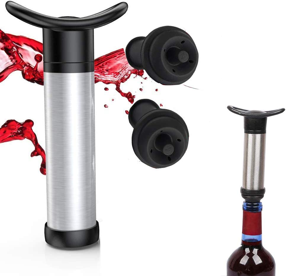 Wine Stopper, Wine Protector with 2 Vacuum Stoppers for Wine Bottles, Stainless Steel and Red Wine Vacuum Pump, Food Grade Materials to Keep Wine Fresh