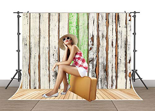 Rustic Barn Door Backdrops for Photography 7x5ft Vintage White Wood Door Photo Backdrop for Kids Newborn Baby Shower Birthday Party Photo Booth Background SSA006