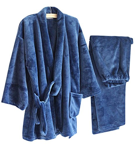 Autumn&Winter Men's Kimono Pajamas Warm Flannel Khan Stea...