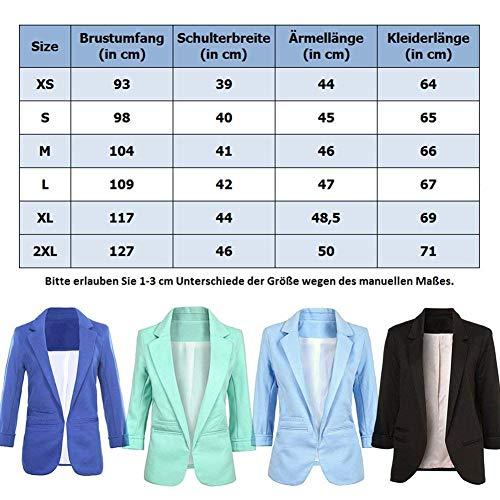 Cappotto Lunga Donna Blazer Business Chic Classica Camicia Monocromo Con Blau Fashion Autunno Ragazza Tasche Fit Giacca Primaverile Manica Eleganti Tailleur Slim Da Giubbino qxHaqrS