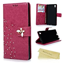 Sony Xperia Z5 Wallet Case - Mavis's Diary 3D Handmade Bling Crystal Diamonds Butterfly Fashion Floral PU Leather with Hand Strap Magnetic Clasp Card Holders for Sony Xperia Z5 - Hot Pink