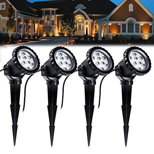 COVOART LED Landscape Lights Landscape Lighting Waterproof LED Tree Lighting Outdoor LED Garden Pathway Lights Warm White Walls Outdoor Spotlights with Spike Stand, Outdoor Landscaping Lights, 4 Pack