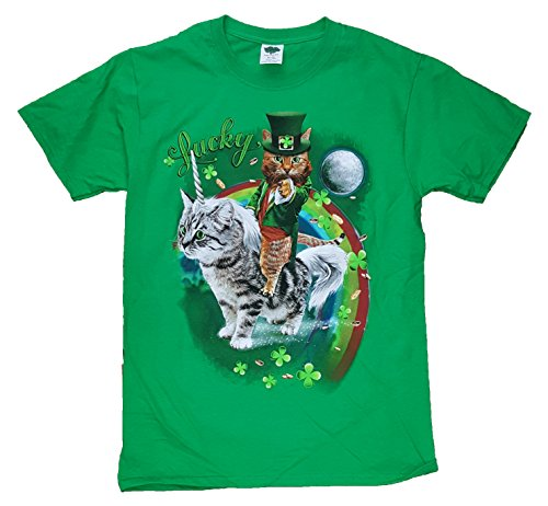 St. Patricks Day Kitty Cat on Kitty Unicorn Lucky Green Graphic T-Shirt - Large