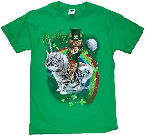 St. Patrick's Day Kitty Cat on Kitty Unicorn Lucky Green Graphic T-Shirt