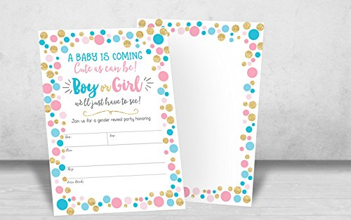 Gender Reveal Invitation, Gender Reveal Party Invite, Neutral Baby Shower Invitation, Boy Or Girl, He Or She, 20 Fill in Invitations and Envelopes by Your Main Event Prints (Image #3)