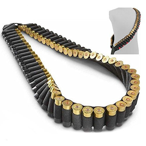 Tactical BOY Shotgun Bandolier 56 Round/Shell Sling 10, 12 and 20 Gauge Shotgun Shell Holder Shotshell Shoulder Shooting Belt Pouch Shotgun Scabbard Sling - Black