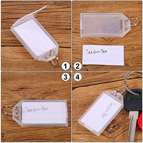 50 Pi/èces /Étiquettes de Cl/és en Plastique Blanches avec /Étiquette de Porte-Anneau Fendu /Étiquette de Bagage de Fen/être /Étiquettes Porte-Cl/és Keychain