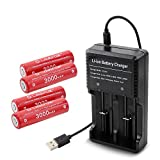 18650 Battery with Charger, LAVAFOX 18650 Rechargeable Batteries 3000mAh 3.7V Lithium-ion with Dual Channel Charger For Flashlight, Headlamps, High Drain Devices (4 Pack)