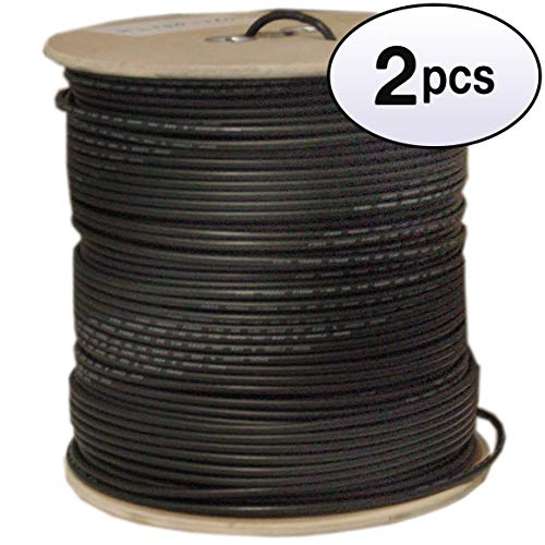 (GOWOS (2 Pack) Bulk RG58/AU Coaxial Cable, Black, 20 AWG, Copper Stranded Center Conductor, Braided Shield, Spool, 1000 Feet)