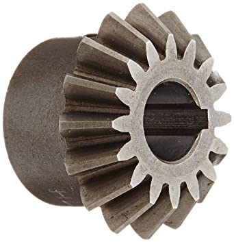 "Boston Gear HL146Y-P Bevel Pinion Gear, 1.5:1 Ratio, 0.375"" Bore, 16 Pitch, 16 Teeth, 20 Degree Pressure Angle, Straight Bevel, Keyway, Steel with Case-Hardened Teeth"
