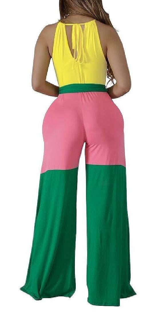 pipigo Womens Casual Halter Neck Wide Leg Playsuit Romper Jumpsuit