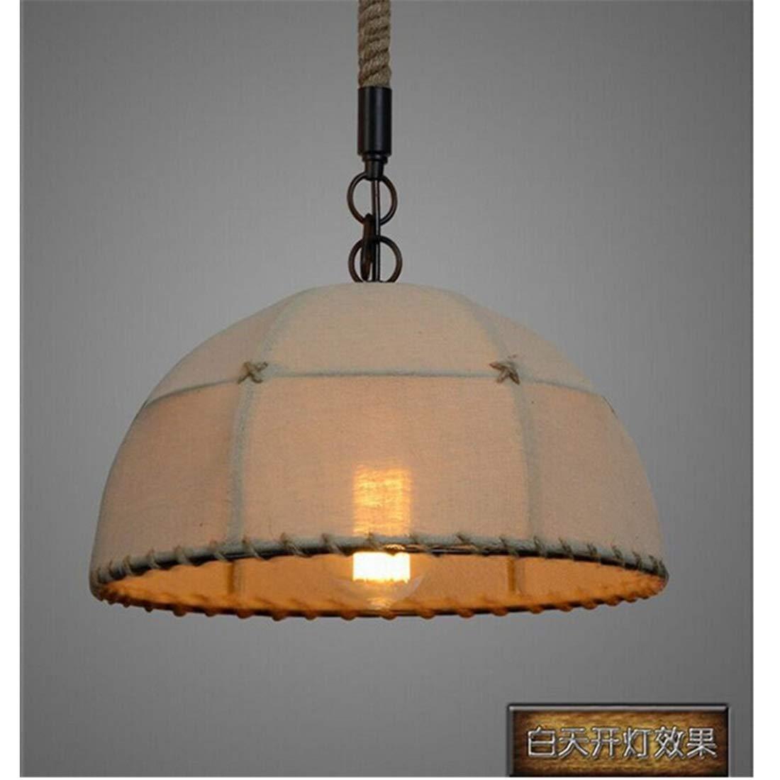 Vintage Kronleuchter Amerikanisches Restaurant Bar Cafe Zimmer Kronleuchter Lampe Handgemäßhte Hanf Leinen Anhänger 45  23 Cm [Energieklasse A +++]