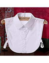 Misciu Women Pure Color Lace Detachable Lapel Choker Necklace Shirt Fake False Collar (White)