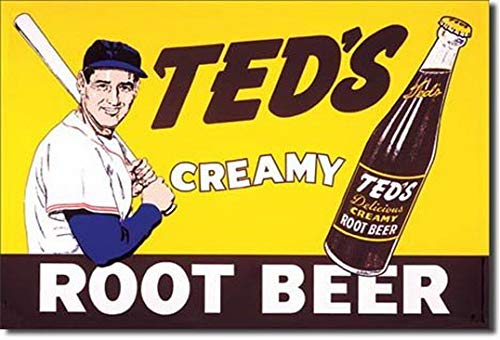 Beer Creamy Teds Tin Root - Ugtell Ted Williams Creamy Root Beer Metal Tin Sign 16