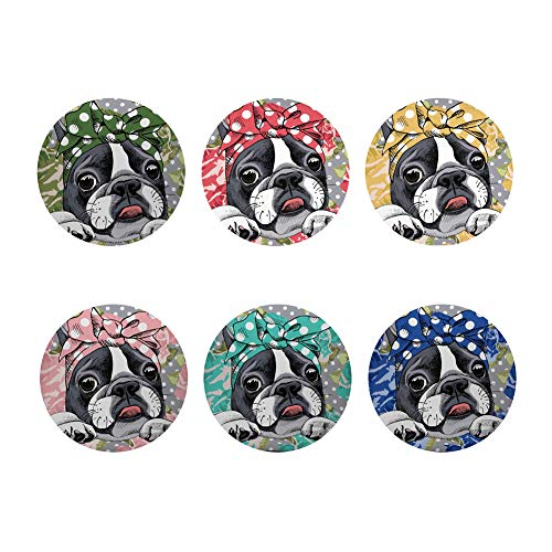 FOR U DESIGNS Heat Resistant Coaster for Drinks Spills Coaster Set 6 Pieces Home Decor Protect Cute French Bulldog Furniture from Damage & Water Stains Eco-friendly