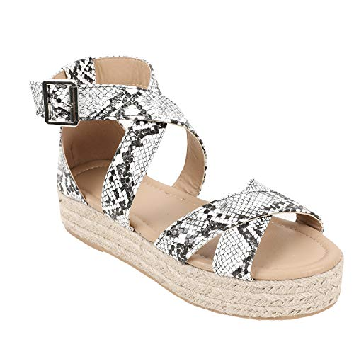 Fashare Womens Espadrille Wedge Sandals Flatform Heel Criss Cross Ankle Strap Open Toe Shoes