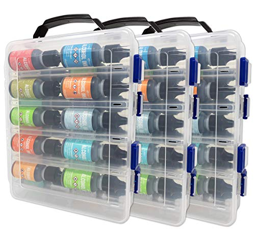 3 Pack - Pixiss Alcohol Ink Hard Plastic Storage Carrying Case Organizer, Stores 20x 0.5-Ounce Bottles of Alcohol Ink, Stickles, Glossy Accents or Reinkers, Travel Case (Ink not Included)