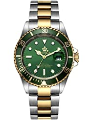 Fanmis Green Dial Ceramic Bezel Sapphire Glass Luminous Quartz Silver Gold Two Tone Stainless Steel Watch