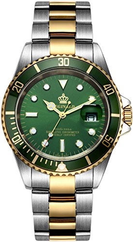 Fanmis Green Dial Ceramic Bezel Sapphire Glass Luminous Quartz Silver Gold Two (Gold Bezel Watch)