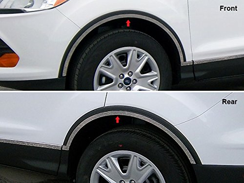 Stainless Steel Wheel Well Trim (ESCAPE 2013-2018 FORD (4 Pc: Stainless Steel Wheel Well Accent Trim w/ 3M Adhesive & Black Rubber Gasket, 4-door, SUV) WQ53360:QAA)
