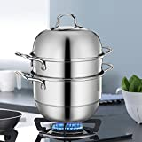 Stainless Steel 3-Tier/Layer Steamer cooking pot, Rice cooker, Double Boilder, stack, steam soup pot and steamer. Visible cover , work with Gas, Electric, and Grill stove top (Jumbo 30cm)