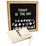 Felt Letter Board 10x10 Organizer by Wordy Tots: Changeable Signs w/ Sturdy Oak Frame & 290 Plastic Letters In Carry Bag/ Durable Versatile for Office, Business, Cafe, Menu Or Chores, and Learning
