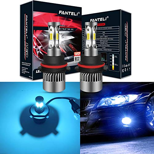 9007 Xenon Blue Hid Bulbs - FANTELI 9007/HB5 8000K Ice Blue 3-Sided LED Headlight Bulbs All-in-One Conversion Kit - 72W 8000lm Dual Hi/Lo Beam Extremely Bright