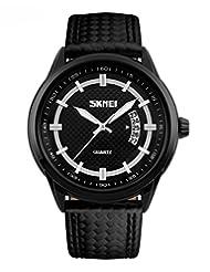 SKMEI Men's SK9116A Waterproof Sports Business Analog Quartz Leather Strap Wrist Watch Black