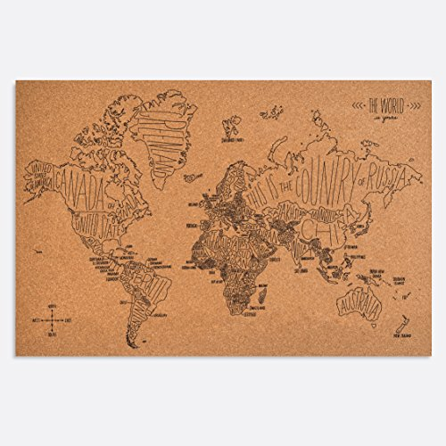 (Easy, Tiger Corkboard Maps, Hand Lettered World Map (36 x 24))