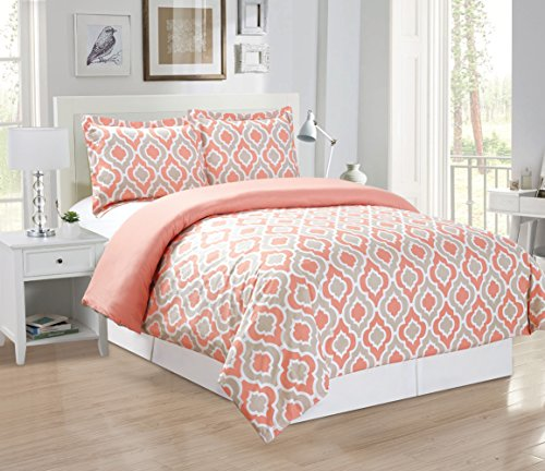 3-Piece Fine printed Quatrefoil Duvet Cover Set KING SIZE - 1500 series high thread count Brushed Microfiber - Luxury Soft, Durable (Pink, Off-White, Coral, Grey)