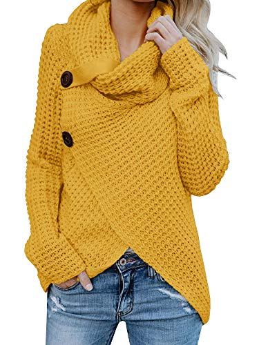 Coutgo Womens Wrap Turtleneck Sweater Button Long Sleeve Chunky Knitted Asymmetrical Pullover Tops