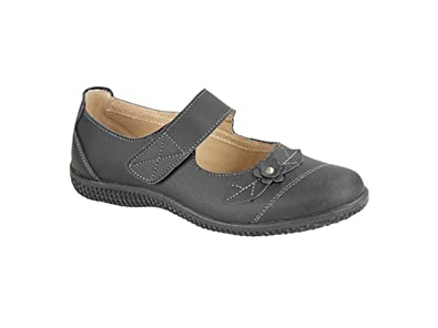 ddc552f53632 Boulevard DIANA Womens Leather Velcro EEE Wide Fit Mary Jane Shoes Black UK  4