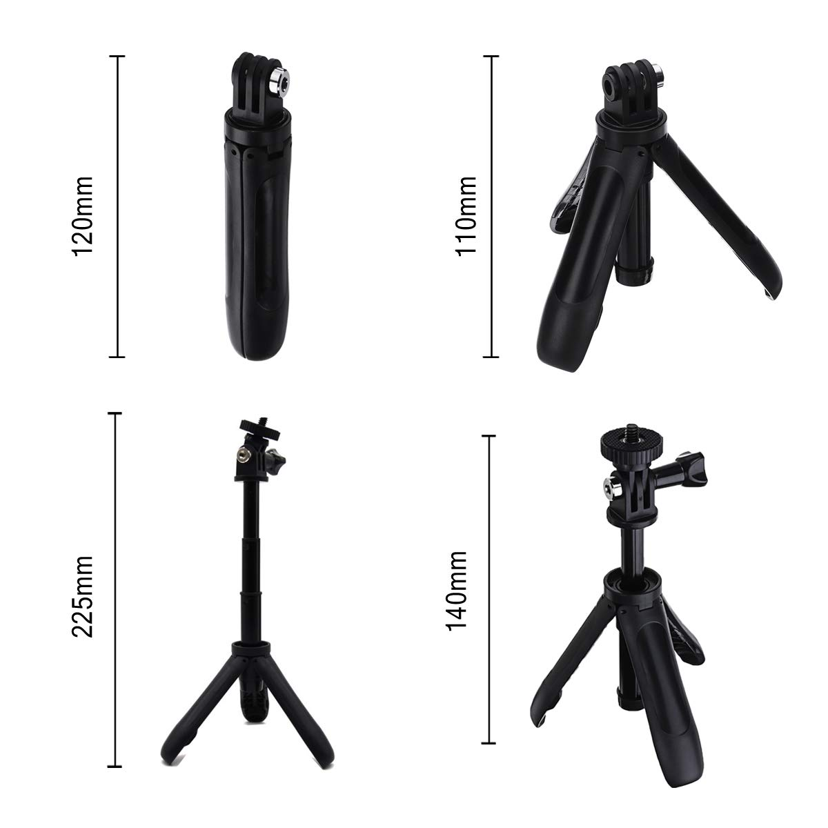 Mini Tripod for GoPro, Homeet 2-in-1 Action Camera Selfie Stick and Tabletop Tripod Portable Adjustable Selfie Pole for GoPro/SJCAM/Akaso/Garmin Virb/DBPOWER/YI/QUMOX/Rollei Sport Camera