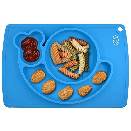 Silicone Children Placemat+3 Compartments Plate for Kids