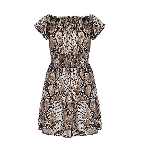 VZEXA Women Dresses Ladies Print Off-Shoulder Bohemian Style Mini Dress(Khaki,US-XL/CN-XXL) ()