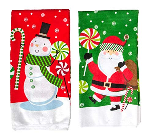 (A&T Designs Set of 2 Santa Claus & Snowman Candy Cane Print Kitchen Hand Dish Towels - Classic Holiday)