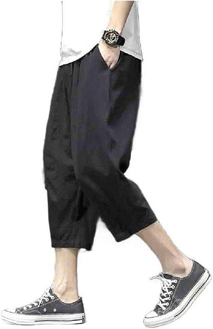 VITryst Mens Straight-Fit Harem 3/4 Length Pants Summer Simple Wide Leg Pants